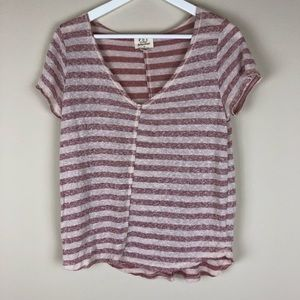 3/$15 Project Social T Striped V-Neck Top XS